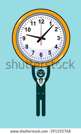 Abstract Businessman holding Time. Businessman desperately trying to hold back time so he can make an important deadline. Stock illustration