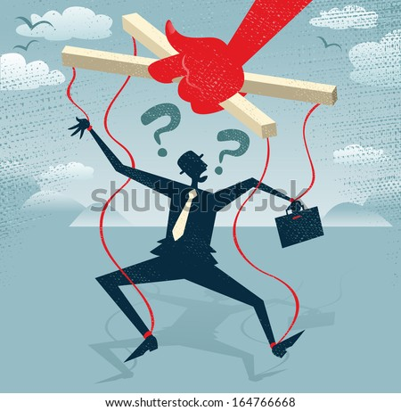 Abstract Businessman is a Puppet.  Great illustration of Retro styled Businessman caught up in bureaucratic red tape like a Puppet on a string. - stock photo