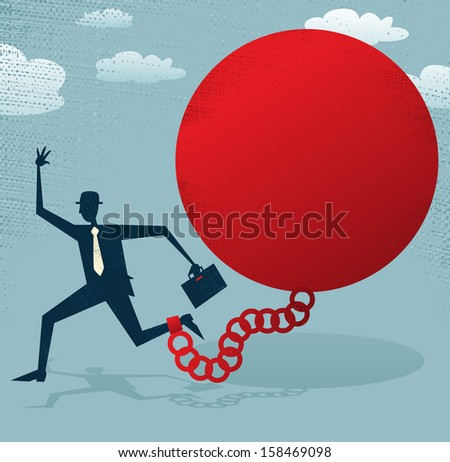 Abstract Businessman locked in a Ball and Chain. Great illustration of Retro styled Abstract Businessman caught up in a bureaucratic chain and ball. - stock photo