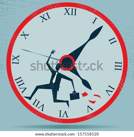 Abstract Businessman Running against the Clock. Great illustration of Retro styled Businessman running out of time and at top speed against the clock as he is very late for an appointment.  - stock photo