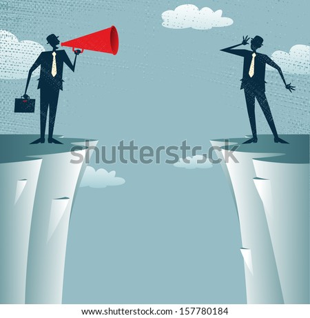 Abstract Businessmen communicating from distance. Great illustration of Businessman standing on the cliffs shouting through a loudspeaker to his colleague who is trying to hear him. - stock photo