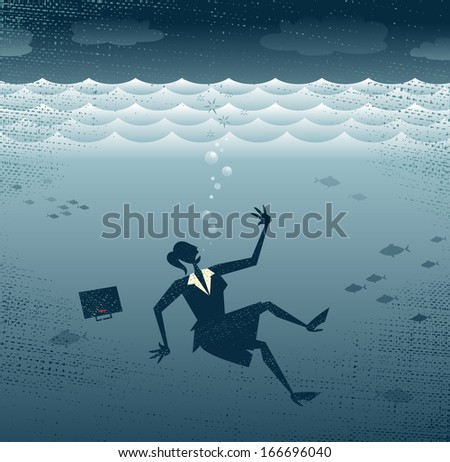 Abstract Businesswoman Drowning. Great illustration of a Retro styled Businesswoman Sinking down to the bottom of the Corporate Sea to a watery grave.  - stock photo