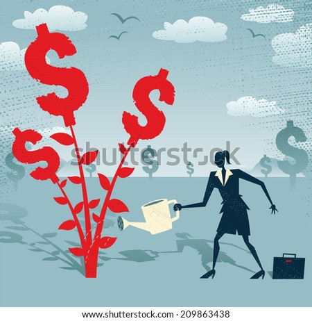 Abstract Businesswoman grows a Dollar Tree. Great illustration of Retro styled Businesswoman nurturing a Dollar Tree with her watering can. - stock photo