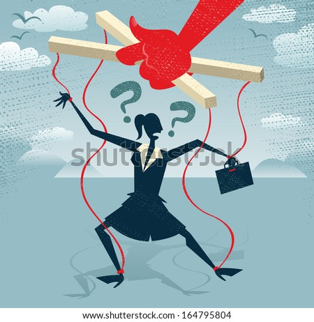 Abstract Businesswoman is a Puppet.  Great illustration of Retro styled Businesswoman caught up in bureaucratic red tape like a Puppet on a string. - stock photo