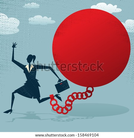 Abstract Businesswoman locked in a Ball and Chain. Great illustration of Retro styled Abstract Businesswoman caught up in a bureaucratic chain and ball. - stock photo