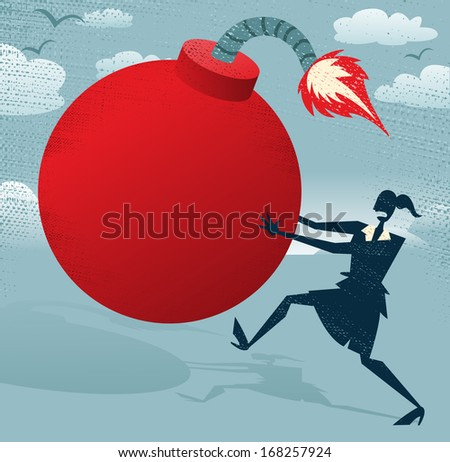 Abstract Businesswoman with Huge Bomb.  Great illustration of Retro styled Businesswoman running for her dear life to get rid of the gigantic metaphorical bomb. - stock photo