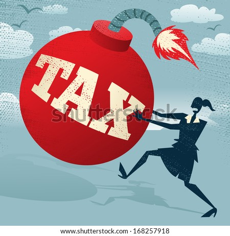 Abstract Businesswoman with Huge Tax Bomb.  Great illustration of Retro styled Businesswoman running for her dear life to get rid of the gigantic metaphorical Tax bomb. - stock photo
