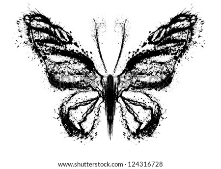 Abstract butterfly. Grunge splash draw paint - stock photo