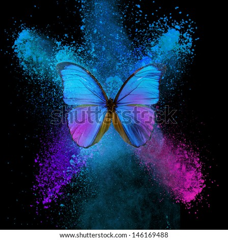Abstract butterfly with blue and cyan blots - stock photo