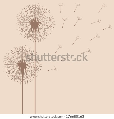 abstract card template with dandelions (raster copy of ID 135945644)