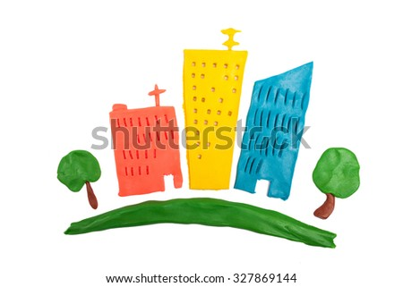 Abstract cartoon colorful city made of plasticine - stock photo