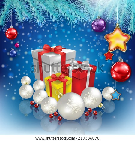 abstract celebration blue greeting with Christmas gifts and decorations - stock photo