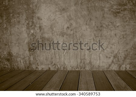 abstract cement concrete wall gray in room interior vintage and wood floor