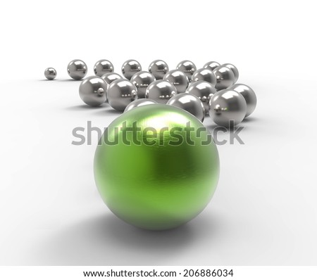 Abstract chain of isolated 3d metalic spheres on a white background, illustration and symbol of social relationship, teamwork