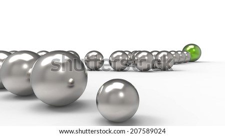 Abstract chain of isolated 3d metalic spheres on a white background, illustration and symbol of social relationship, teamwork, business scheme