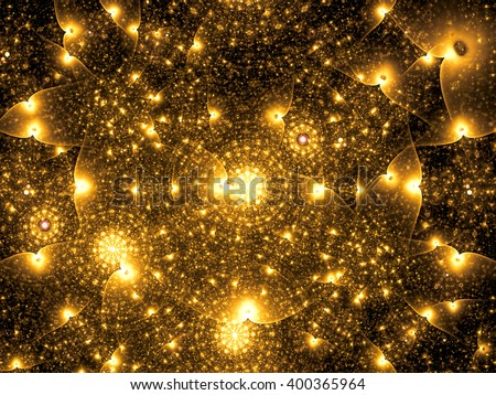 Abstract chaos technology background - computer-generated golden image. Fractal artwork: chaos rings, glowing dots and curves. Modern fractal background for web-design, covers and posters. - stock photo