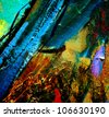 abstract chaotic painting by oil on canvas, illustration, background - stock photo