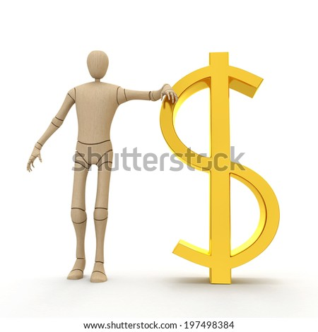 Abstract character with big golden dollar sign 3D rendered isolated on white background - stock photo