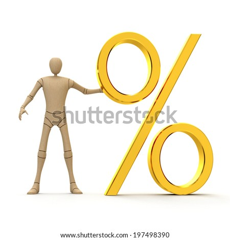 Abstract character with big golden percent sign 3d rendered isolated on white backgrounds - stock photo