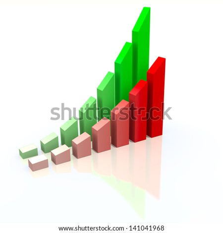 Abstract chart with increasing measures of success, business concept - stock photo