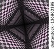 Abstract checkered background of lilac color with perspective effect. - stock photo