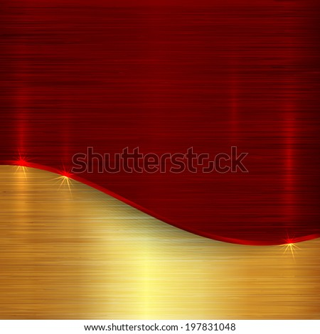 abstract cherry red and gold metallic background - stock photo