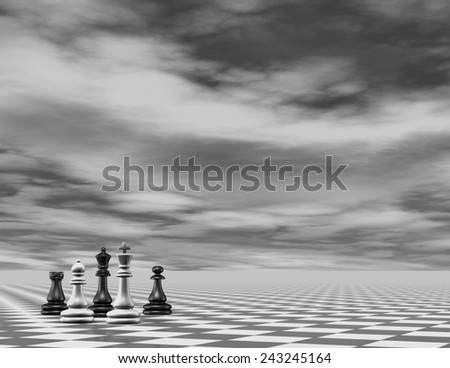 Abstract chess 3d background render, black and white. - stock photo
