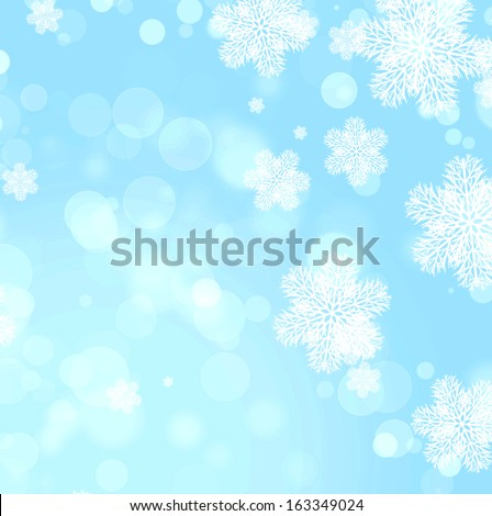 Abstract christmas background of blue color with boke