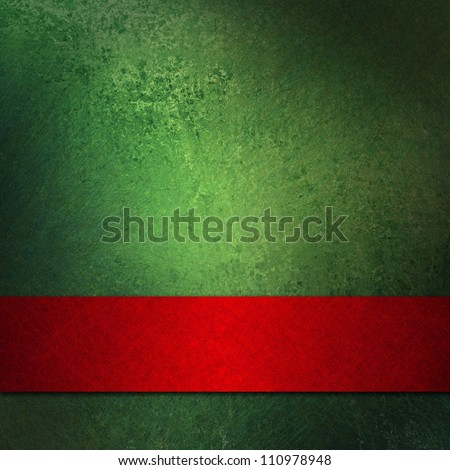 abstract Christmas background or green background design layout of elegant old vintage grunge background textured wall with blank dark red ribbon wrap on bottom frame for brochure ad or web template - stock photo