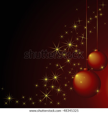 Abstract christmas background with balls and stars