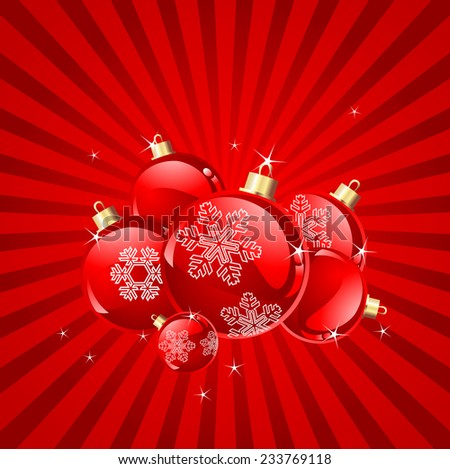 Abstract Christmas background with baubles. Raster version.   - stock photo