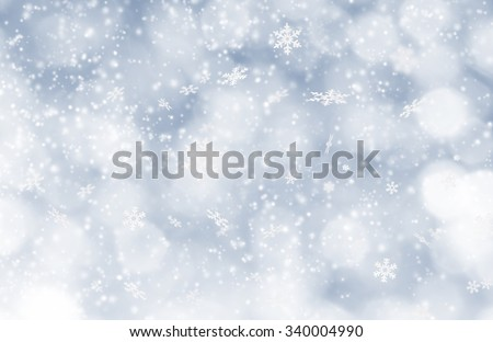 Abstract Christmas background with falling snow flakes - stock photo
