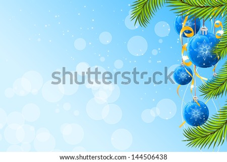 Abstract Christmas background with fir-tree and balls