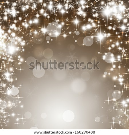 abstract Christmas  background with snowflakes stars and lights - stock photo