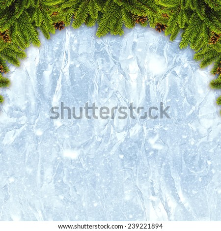 Abstract christmas backgrounds with xmas decorations over iced texture - stock photo