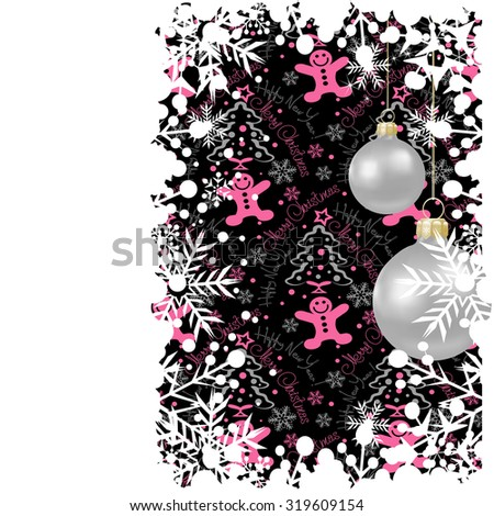 Abstract, Christmas card, Evening balls, Christmas baubles, Holiday background, Dark,