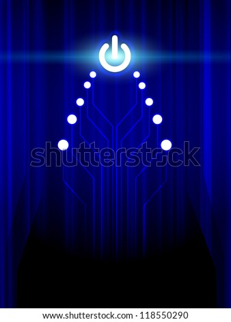 Abstract christmas electronic tree on a dark blue background - stock photo