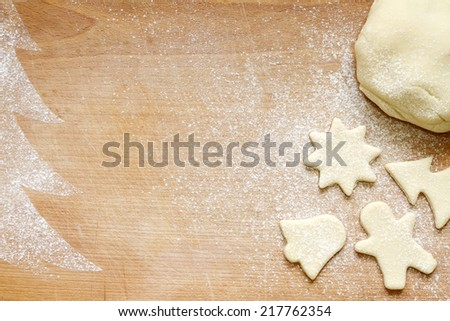 Abstract christmas food backing background on vintage board - stock photo
