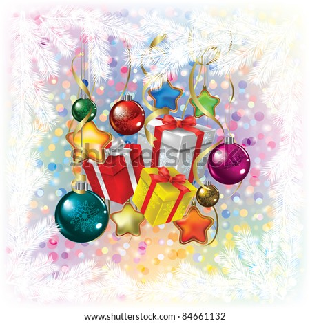 Abstract Christmas greeting with decorations and gifts on white