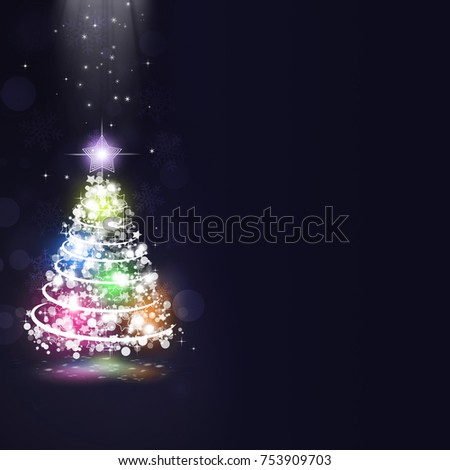 abstract christmas holiday tree on dark blue background