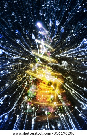 abstract christmas lights explosion as nice background - stock photo