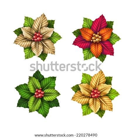 abstract Christmas poinsettia flowers  illustration, design elements isolated on white background - stock photo