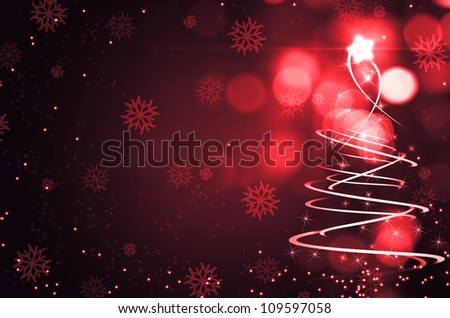 Abstract Christmas tree and snow - stock photo