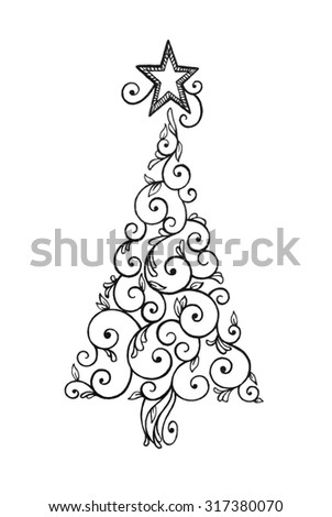 Abstract Christmas Tree Clipart With Pretty Swirls And Star Design On Top In Black Ink