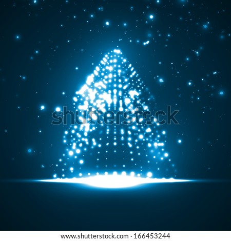 Abstract Christmas tree, colorful lights elements illustration - stock photo