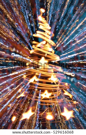 abstract christmas tree from color xmas lights