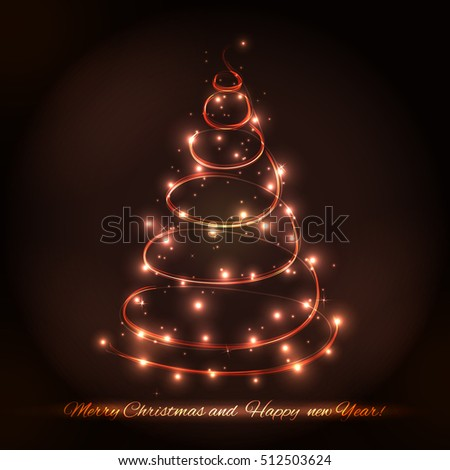 Abstract Christmas tree made of sparkles and lights.  greeting card.