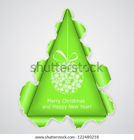 Abstract Christmas tree made �¢??�¢??of torn paper. Raster copy of vector illustration - stock photo
