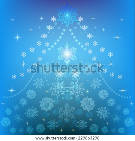 Abstract Christmas tree winter backgrund. - stock photo