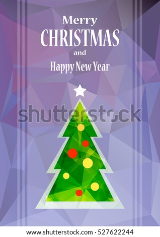 Abstract Christmas tree with balls isolated on blue polygonal background. Design elements for greeting cards or flyers. Christmas illustration.